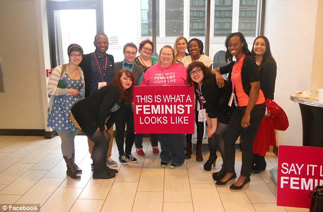 Speaking out: Miss Broderick, (pictured fifth from left with her university friends)