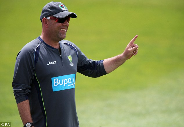 Making his point: Australia coach Lehmann called for fans to get 'stuck in' to Broad this winter