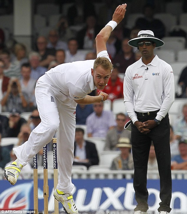 In action: Broad bowls during the second day of the fifth Ashes Test at The Oval