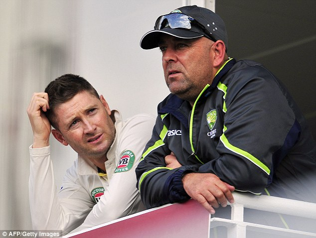 Fined: Darren Lehmann (tight), watching the fifth Test on Thursday with Michael Clarke, has been fined 50 per cent of his match fee after his comments regarding England's Stuart Broad