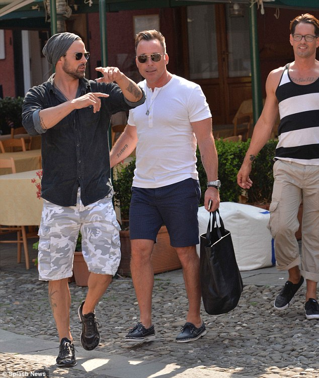 David and his party soak up the sights in Portofino on Friday