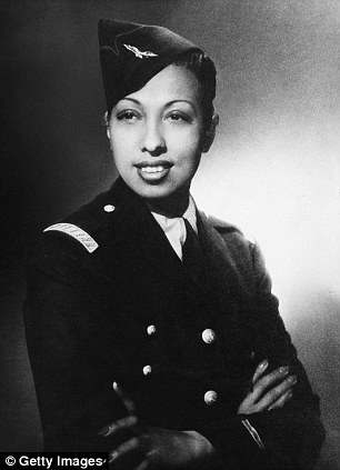 Publicity portrait of American singer, dancer, and actress Josephine Baker in a military uniform, 1944