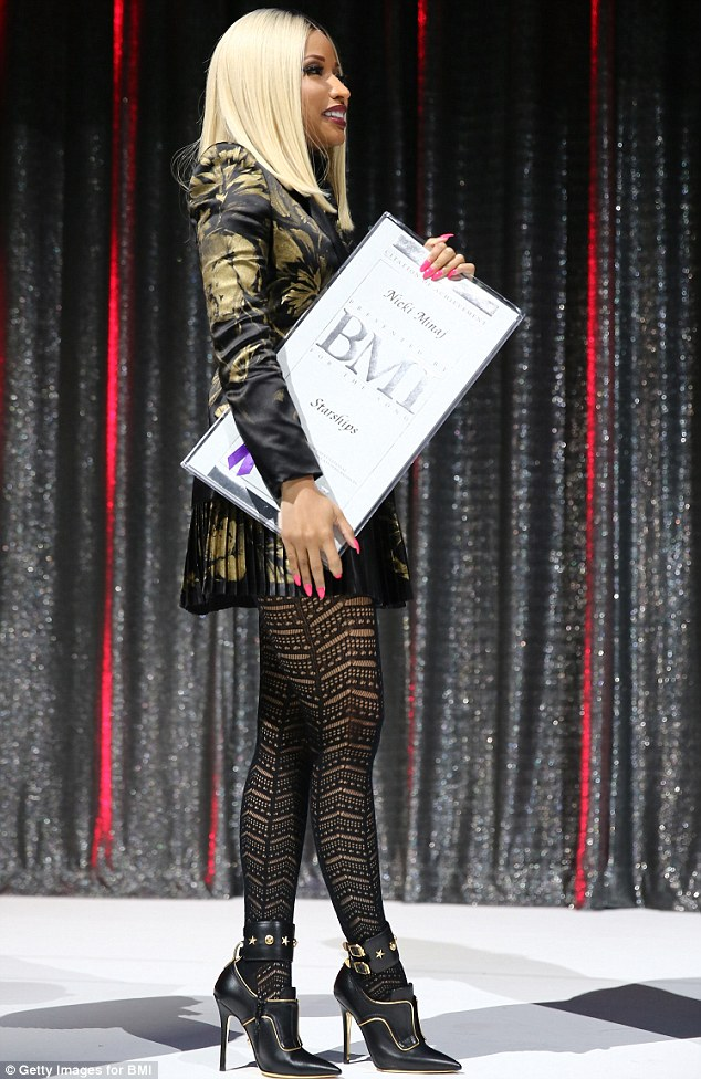 Paying off: Nicki was awarded for her efforts on the night, and it appears she dressed accordingly