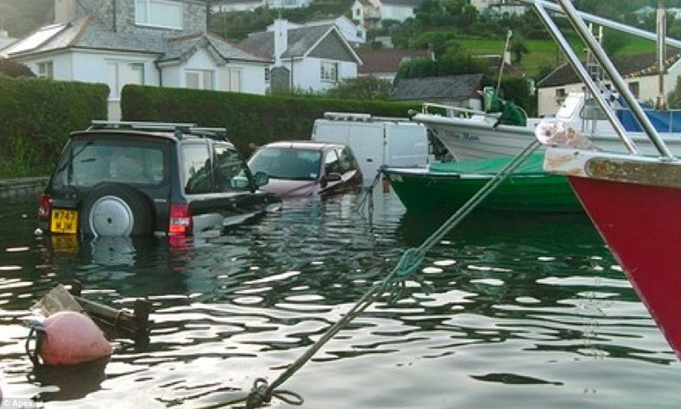 Golant resident Perren May said there is a sign in the village warning drivers of the possibility of floods - but drivers were not anticipating them to be this extreme