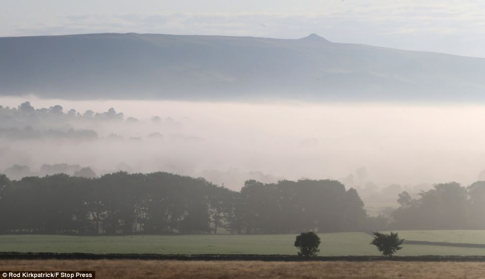 An autumnal mist descends over Derbyshire, as the seasons can be seen slowly changing