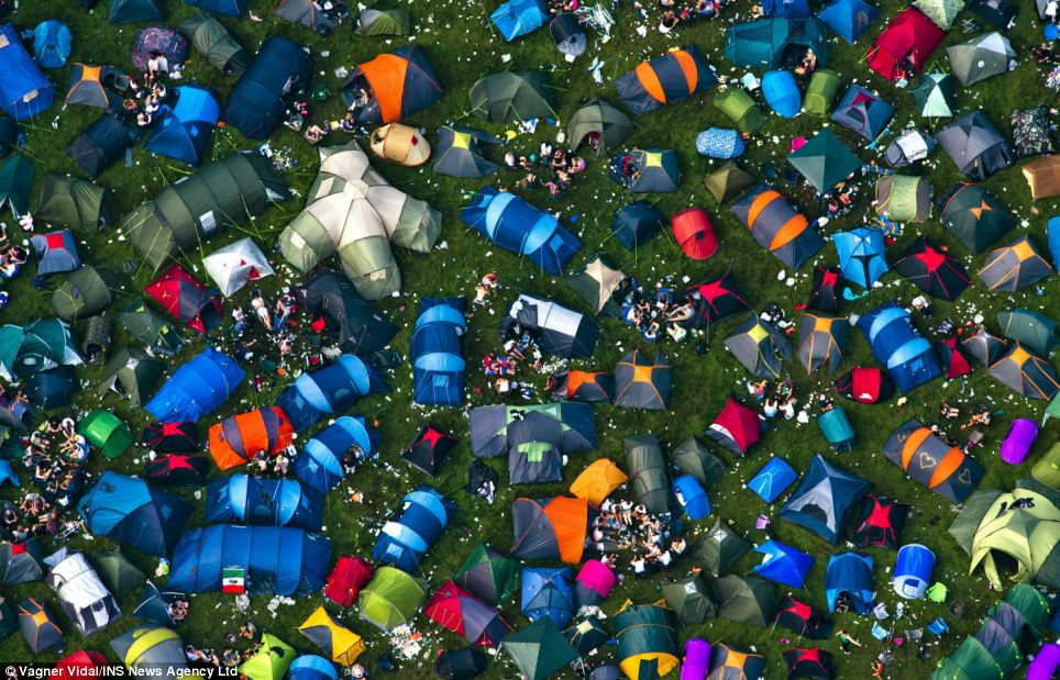 A sea of tents: Thousands of music fans from all over the country have come together to see the likes of Eminem, Green Day and Biffy Clyro during the three day event