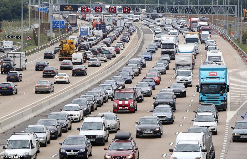 Traffic on the M25 between Junction 9-10 in Surrey following an earlier caravan fire with tailbacks for over 12 miles