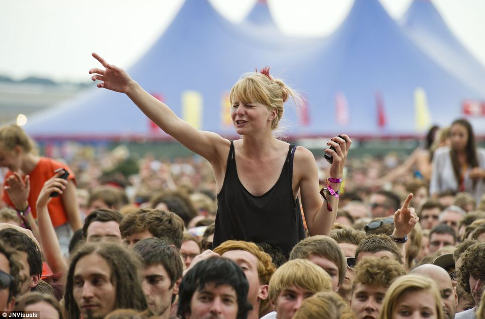 Revellers enjoy the music and good weather on the opening day at Reading Festival