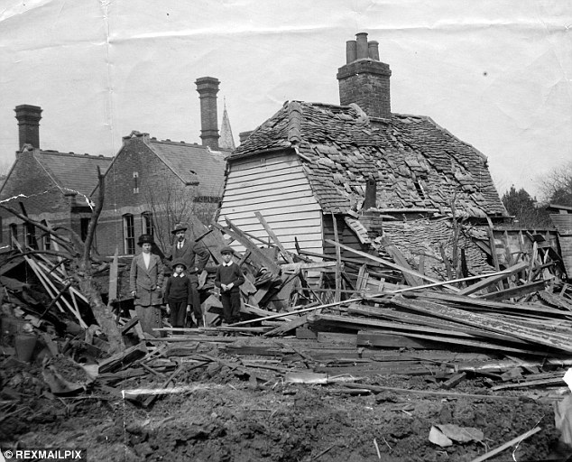Morale sapping: A Zeppelin raid on England during World War I destroyed this house in Maldon, Essex