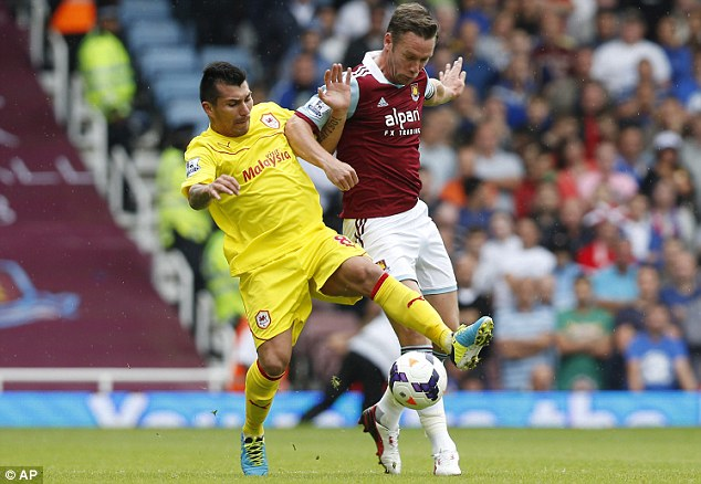 Debut: Gary Medel last week featured for Cardiff away to West Ham