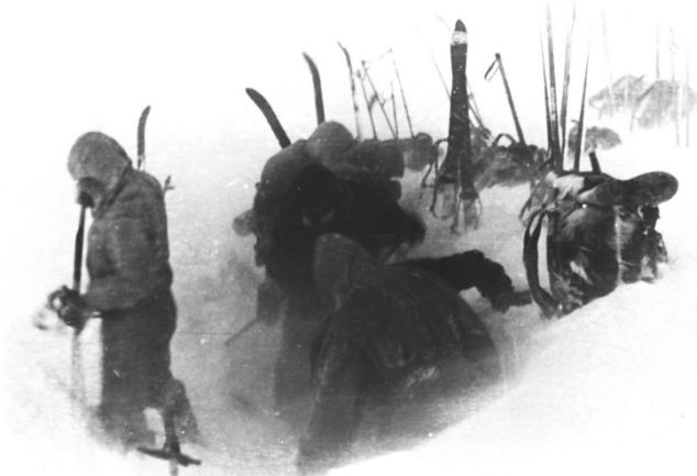 Striking camp: The skiers setting up camp on February 2, 1959 in a photo taken from a roll of film found by investigators