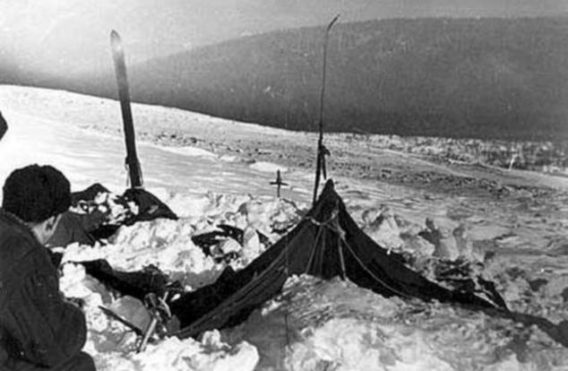 Eerie: The tent as the rescuers found it on February 26, 1959, which had been cut open from inside