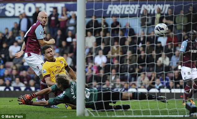 Happy hunting ground: Giroud has netted against West Ham three times