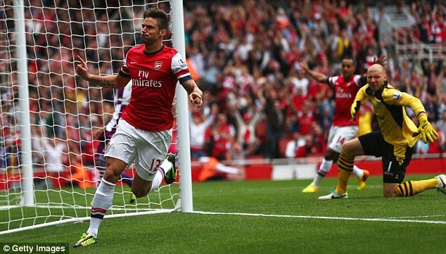 Opened account: Giroud scored his first goal of the season against Aston Villa last week