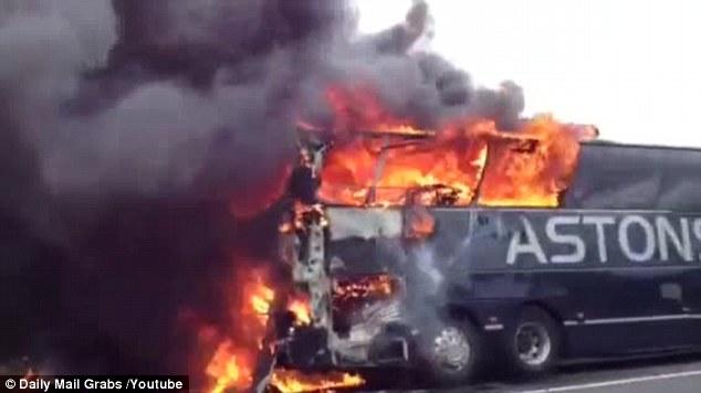 Inferno: The blaze spreads through the coach