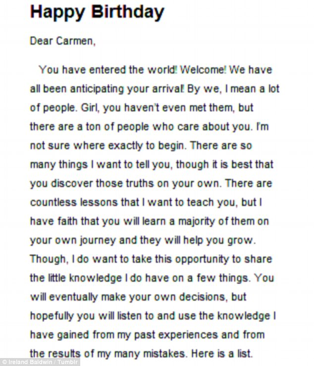 Words of wisdom: The model passed down advice to Carmen in the letter posted on her Tumblr on Friday