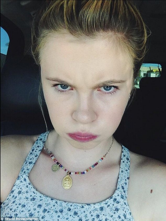 Pouting: Ireland, 17, appeared to be grumpy on Thursday when she posted this picture on Twitter