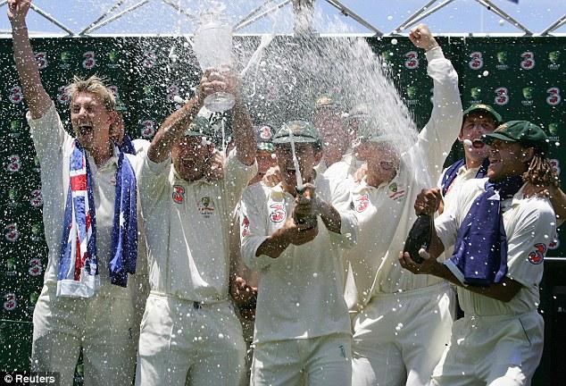 Tonk the Poms: Australia celebrate their 5-0 whitewash over England in 2006-07
