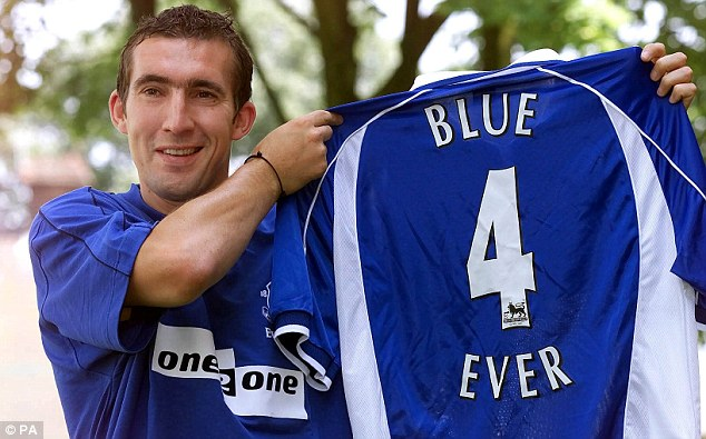 Twice a blue: Stubbs signed for Everton in 2001 and had a second spell from 2006-08 (below)
