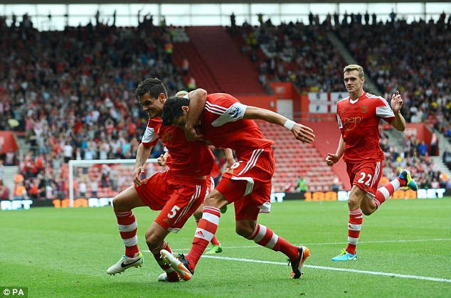 Late blow: Jose Fonte equalised for Saints against Sunderland at St Mary's