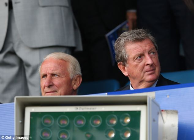 Spectator: Trapattoni watches Everton's home game with West Brom alongside England boss Roy Hodgson