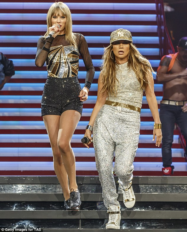 Adding extra sparkle: J Lo joined Taylor Swift in a special guest performance on the fourth night of her four night run of shows at the Stalples Centre in Los Angeles