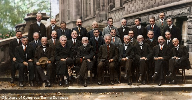 Attention: Even the leaves in the gutter have been colored for this group picture of some of the world's greatest minds, from Marie Curie to Einstein, at the 1927 Solvay Conference