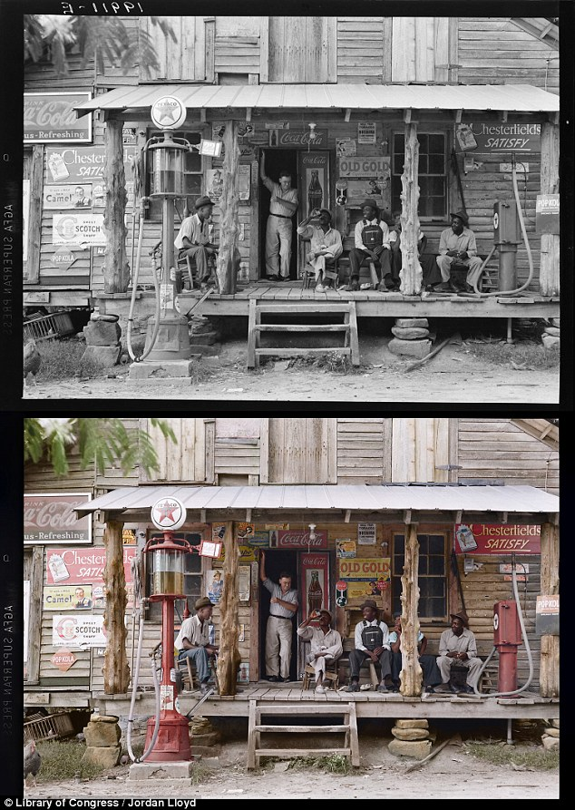 Connection: Viewed in color, this 1939 photo draws attention to the recognizable advertising boards on the side of this North Carolina store