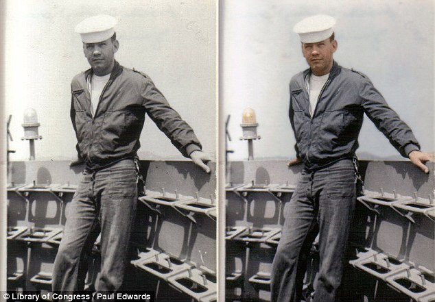 Gentle: Soft colorization defines the sailor in this photo