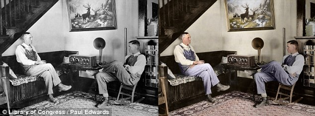 Warmth: The color version of this 1924 photo of Kansas farmers appears more lifelike
