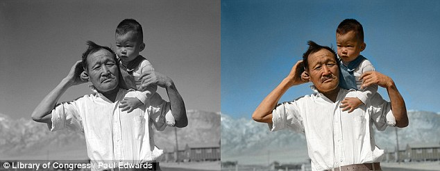 Past: The color helps bring photos, such as this one of a grandfather and child at a relocation camp in 1942, to life