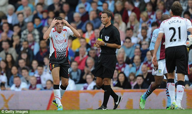 Strong performance: Mark Clattenburg had a good game at Villa Park on Saturday afternoon
