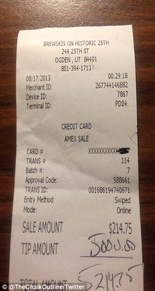 Holy cow!: A patron at a Utah bar left a $5,000 on a $214 check last Friday night