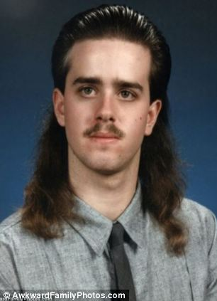 This man's mullet must haunt him to this very day (left)