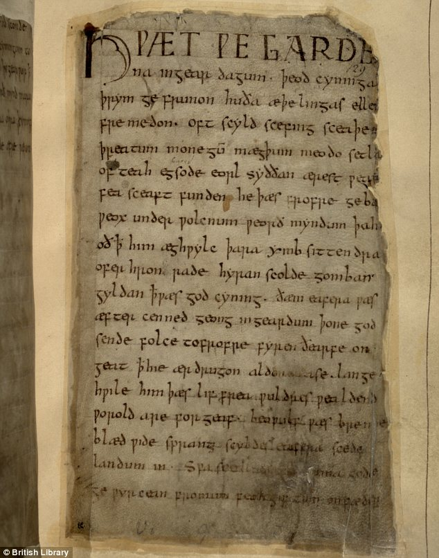 Manuscript: The one surviving copy of the poem is contained on badly burnt parchment in the British Library