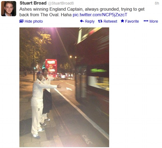 Fun and frolics: Stuart Broad tweeted a picture of Alastair Cook and Matt Prior hailing a bus late last night