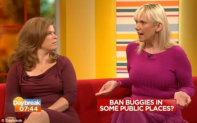 Samantha Brick, right, on Daybreak with Emma B, calling for a ban on buggies in public places, particularly during rush hour
