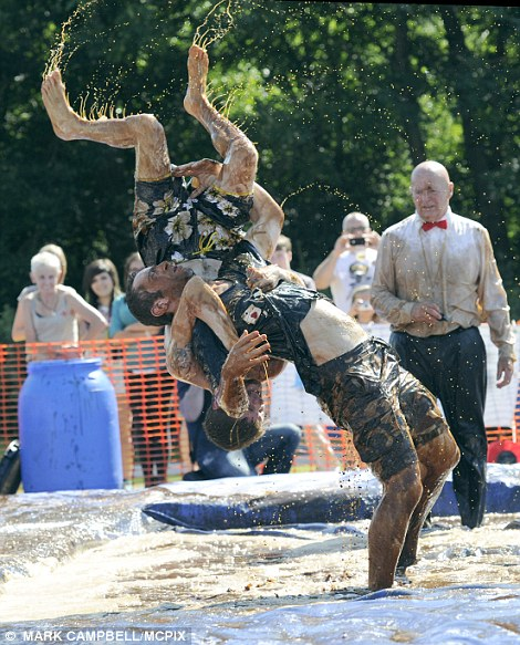 Action from The World Gravy Wrestling Championship. The Rose and Bowl Pub, Lancashire