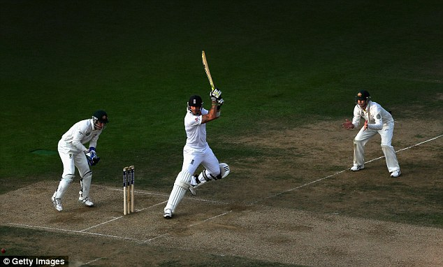 Genius: Thanks to some flamboyant play by Kevin Pietersen, England were in with a slim chance of winning the match