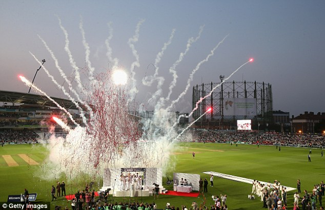 Fireworks: The fans did get to see England lift the Ashes urn at least