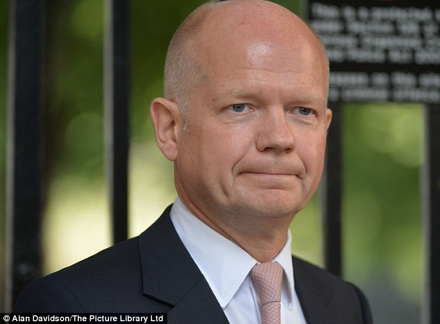Crisis talks: Foreign Secretary William Hague is also at No 10 as the Armed Forces began to draw up plans to attack Syria if needed