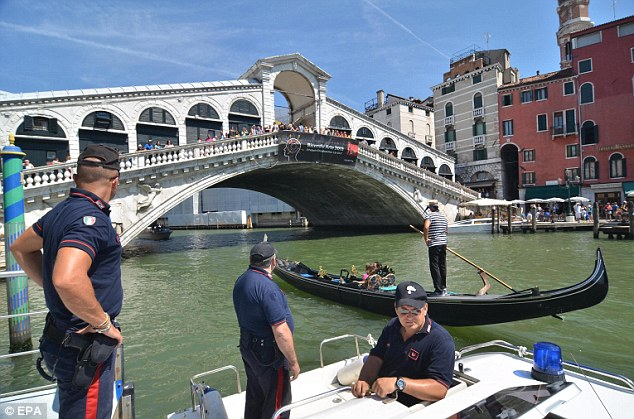 Accident: A German tourist was killed and his three-year-old daughter seriously injured when the gondola they were travelling in collided with a water bus on Venice's Grand Canal
