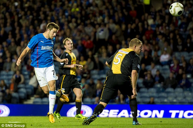 Header: Rangers' Andrew Little puts his side 2-0 ahead