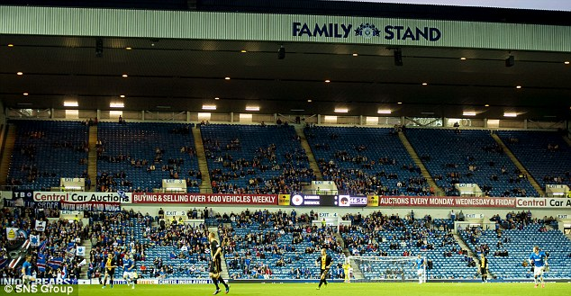 Quiet night: Only 16,097 fans attended the match at Ibrox