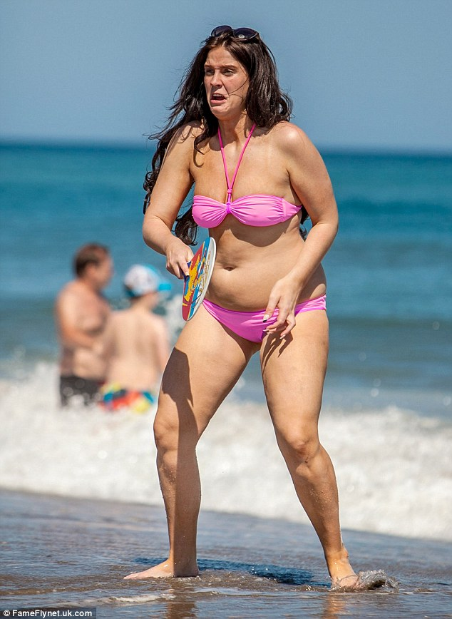 Vicki gets stuck into a game of bat and ball during her latest holiday
