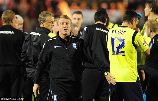 Fury: Birmingham manager Lee Clark, who was raging, pictured during the extra time break