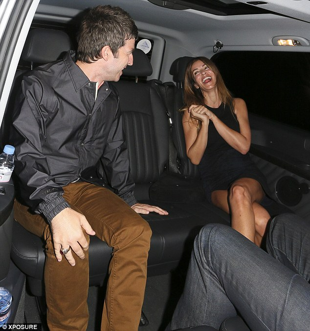 Barrel of laughs: Sara cracked up laughing at her husband as they finally called it a night and hailed a taxi