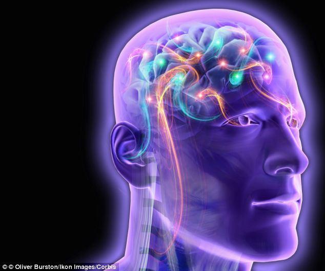 Transparent man's brain glowing