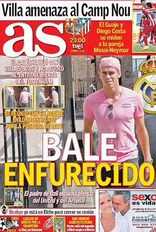 Furious: The Spanish press reported Bale is unhappy at the delay in his world record £86million move