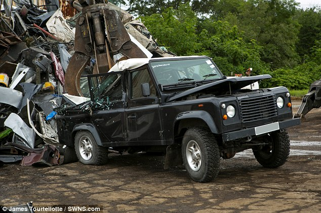 Power: The off-road vehicle may be able to go places other cars can't, but it is no match for the wrecking claw